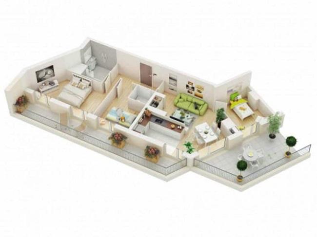 mẫu nhà ống 1 tầng đẹp 3 phòng ngủ